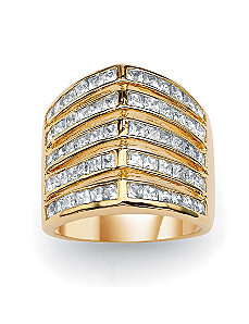 "Princess-Cut Cubic Zirconia""V""Band by PalmBeach Jewelry"