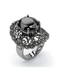 Black Cubic Zirconia Ring by PalmBeach Jewelry