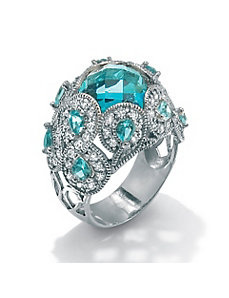 Simulated Aquamarine and Cubic Zirconia Ring by PalmBeach Jewelry