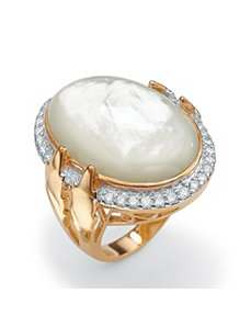 Mother-of-Pearl and Cubic Zirconia Ring by PalmBeach Jewelry