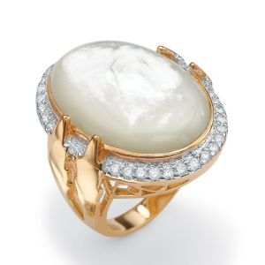 Mother-of-Pearl and Cubic Zirconia Ring