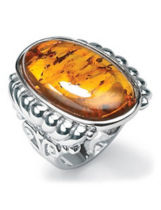 Cognac Amber Ring by PalmBeach Jewelry