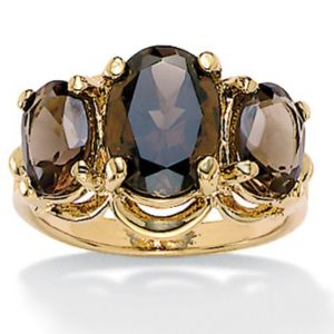 Oval-Cut Smoky Quartz Ring