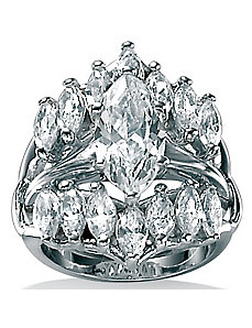 Marquise-Cut Cubic Zirconia Ring Set by PalmBeach Jewelry
