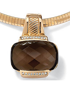 Smoky Quartz & Cubic Zirconia Pendant/Enhancer by PalmBeach Jewelry