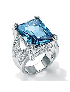 Blue and White Cubic Zirconia Ring by PalmBeach Jewelry