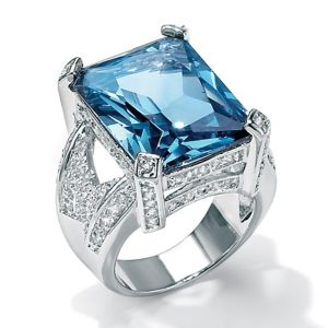 Blue and White Cubic Zirconia Ring