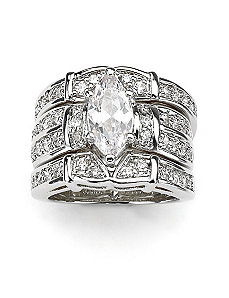 Marquise & Round Cubic Zirconia Ring Set by PalmBeach Jewelry