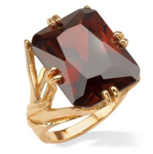 Emerald-Cut Red Cubic Zirconia Branch Ring