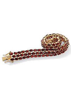 Oval-Cut Garnet Triple-Row Bracelet by PalmBeach Jewelry
