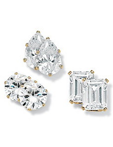 Three-Pair Set of Cubic Zirconia Stud Earrings by PalmBeach Jewelry