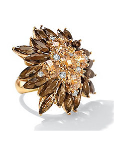 Champagne & White Cubic Zirconia Flower Ring by PalmBeach Jewelry