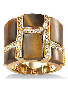 Tiger's-Eye & Cubic Zirconia Ring by PalmBeach Jewelry
