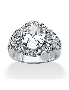 Oval-Cut/Round Cubic Zirconia Ring by PalmBeach Jewelry