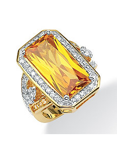 Canary Yellow/White Cubic Zirconia Ring by PalmBeach Jewelry