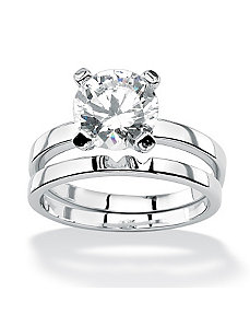 Round Cubic Zirconia Solitaire Ring Set by PalmBeach Jewelry