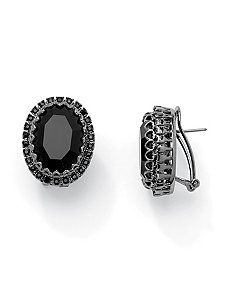 Black Glass and Crystal Earrings by PalmBeach Jewelry