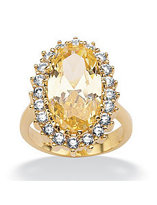 Canary Yellow & White Cubic Zirconia Ring by PalmBeach Jewelry