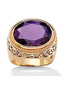 Oval-Cut Purple Cubic Zirconia Ring by PalmBeach Jewelry