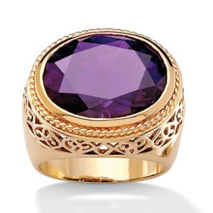 Oval-Cut Purple Cubic Zirconia Ring