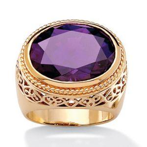 Oval-Cut Purple Cubic Zirconia Ring