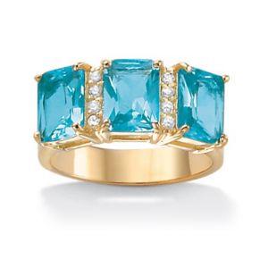 Emerald-Cut Birthstone & Cubic Zirconia Ring