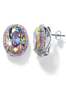 Aurora Borealis/Pink Cubic Zirconia Earrings by PalmBeach Jewelry