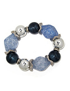 Blue Lucite Nugget Stretch Bracelet by PalmBeach Jewelry