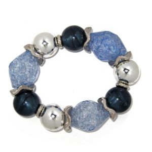 Blue Lucite Nugget Stretch Bracelet