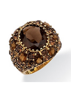 Smoky Quartz and Crystal Ring by PalmBeach Jewelry