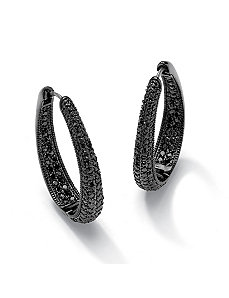 Black Cubic Zirconia Huggie Hoop Earrings by PalmBeach Jewelry