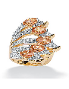 Champagne & White Cubic Zirconia Ring by PalmBeach Jewelry