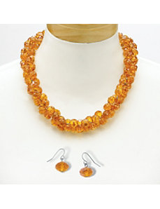 Amber-Colored Crystal Jewelry Set by PalmBeach Jewelry