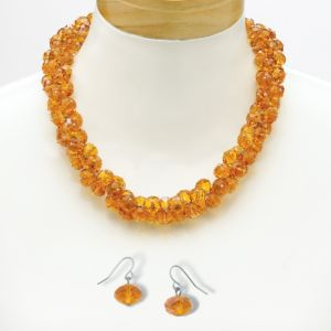 Amber-Colored Crystal Jewelry Set