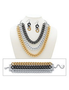 Triple-Row Curb-Link Jewelry Set by PalmBeach Jewelry
