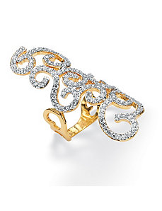 Cubic Zirconia Elongated Siwrl Ring by PalmBeach Jewelry