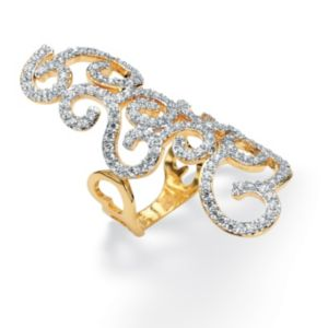 Cubic Zirconia Elongated Siwrl Ring