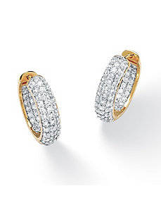 Cubic Zirconia Huggie Earrings by PalmBeach Jewelry