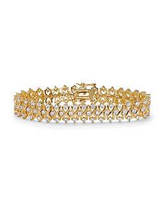 Triple-Row Cubic Zirconia Bracelet by PalmBeach Jewelry