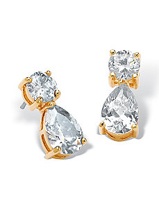 Round & Pear-Shaped Cubic Zirconia Earrings by PalmBeach Jewelry
