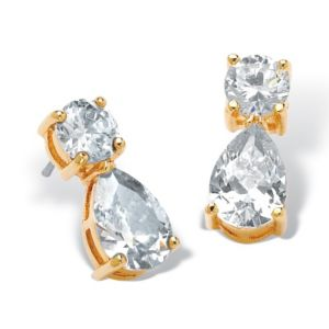Round & Pear-Shaped Cubic Zirconia Earrings