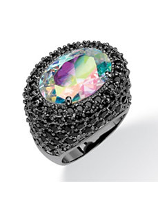 Aurora Borealis/Black Cubic Zirconia Ring by PalmBeach Jewelry