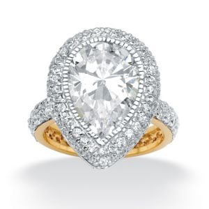 Pear and Round Cubic Zirconia Ring