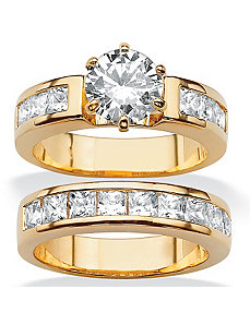 Round & Princess-Cut Cubic Zirconia Ring Set by PalmBeach Jewelry