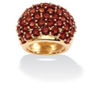 Round Garnet Dome Ring