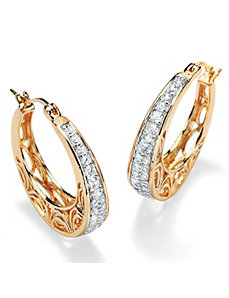 Cubic Zirconia Filigree Hoop Pierced Earrings by PalmBeach Jewelry
