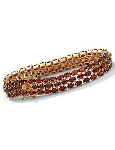 Triple-Row Garnet Tennis Bracelet by PalmBeach Jewelry