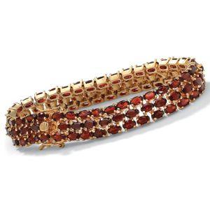 Triple-Row Garnet Tennis Bracelet