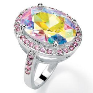 Aurora Borealis & Pink Cubic Zirconia Ring