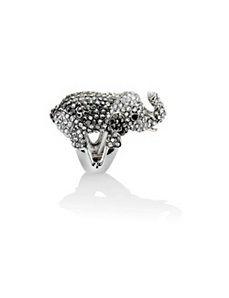 Multi-Crystal Elephant Stretch Ring by PalmBeach Jewelry
